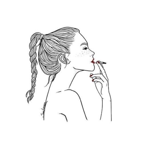 Рисованная девушка с сигаретой