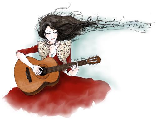 Картинки, девушка с гитарой картинки нарисованные