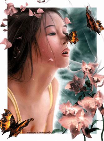 """Оригинал - Схема вышивки  """"девушка и бабочки """" - Схемы вышивки - tiger - Авторы - Портал  """"Вышивка крестом """" ."""