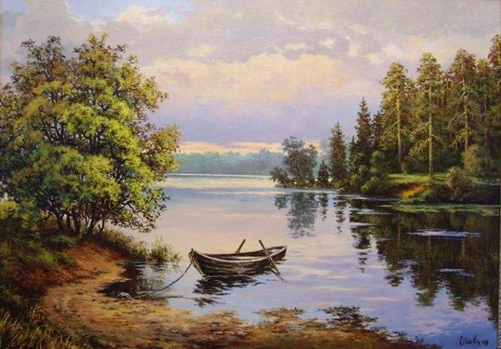 речной пейзаж с лодками фото