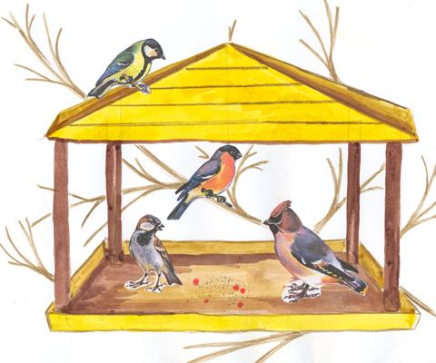 Воспитатель предлагает сделать кормушки для маленьких симпатичных птичек...