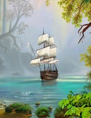 Схема вышивки крестом 'Фрагмент панно 'Пейзаж с парусником'', скриншот.