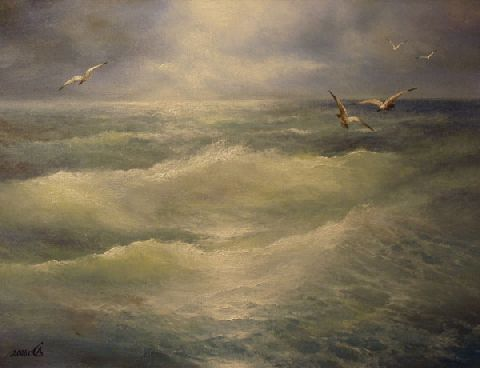 Left in the sea and seagulls