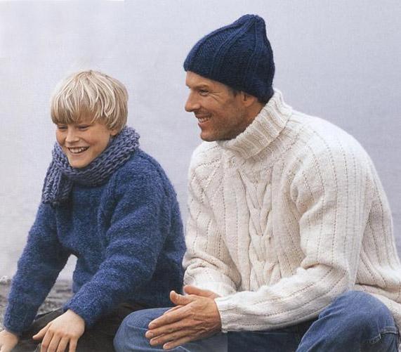 схемы вязания мужских свитеров спицами, кофты с большим капюшоном и