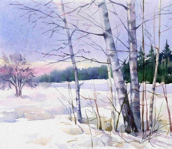 Пейзажи акварелью зима