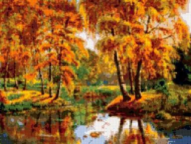 """Оригинал схемы вышивки  """"осении берёзки """". осении берёзки, осень,природа,берёзки,река,листва,времена года,деревья..."""