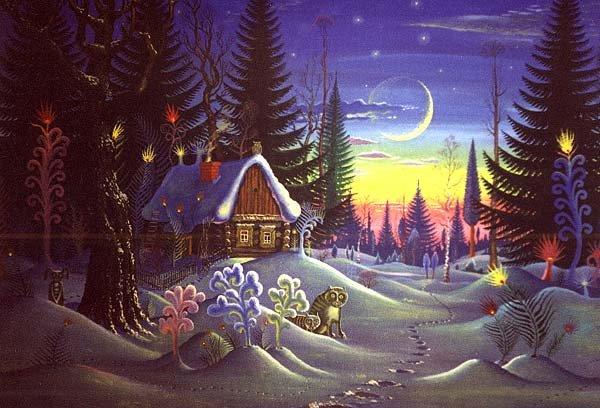 Избушка в лесу новогодняя