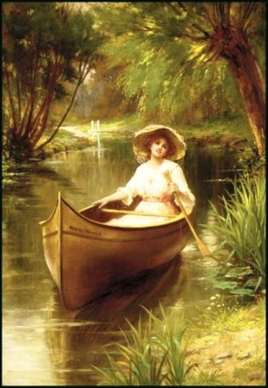 дама с зонтиком в лодке