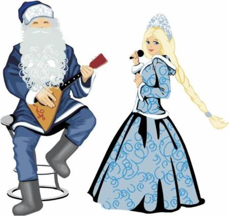 Светящиеся дед мороз и снегурочка фигурки