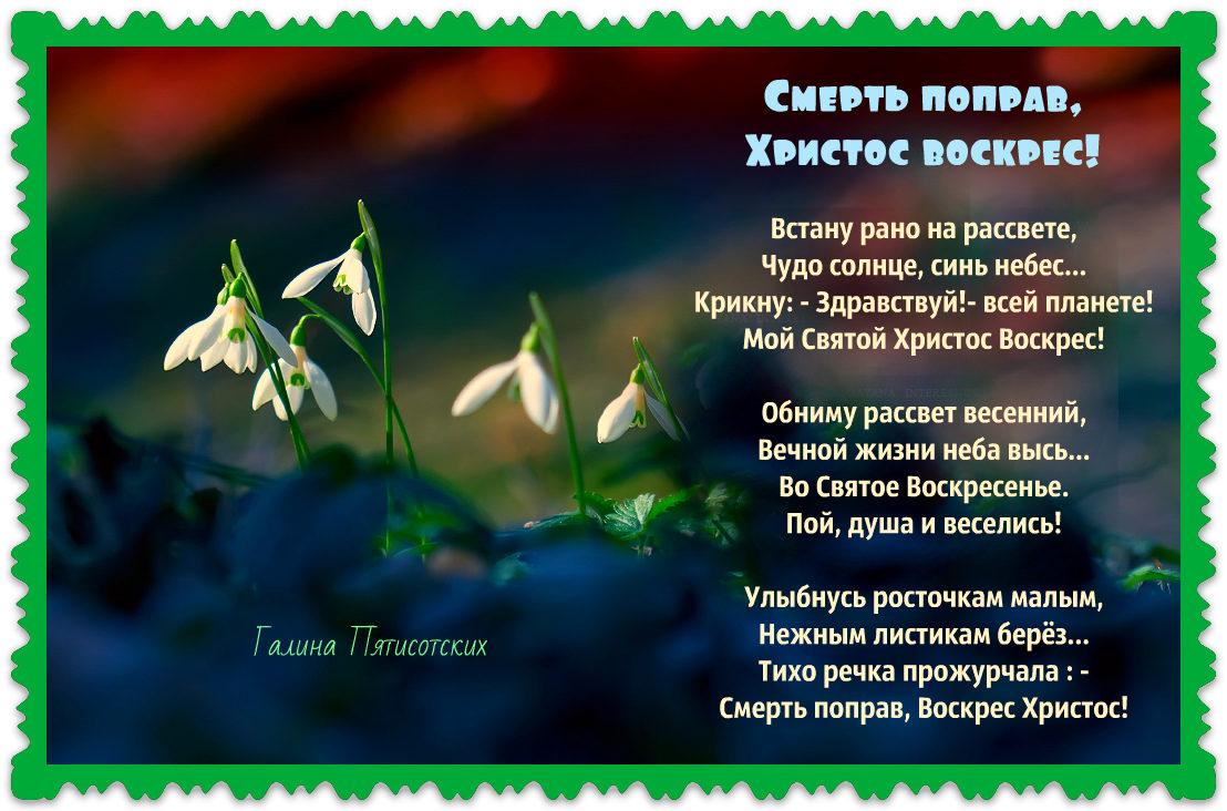 Мой Святой Христос Воскрес! (Галина Пятисотских) / Стихи.ру