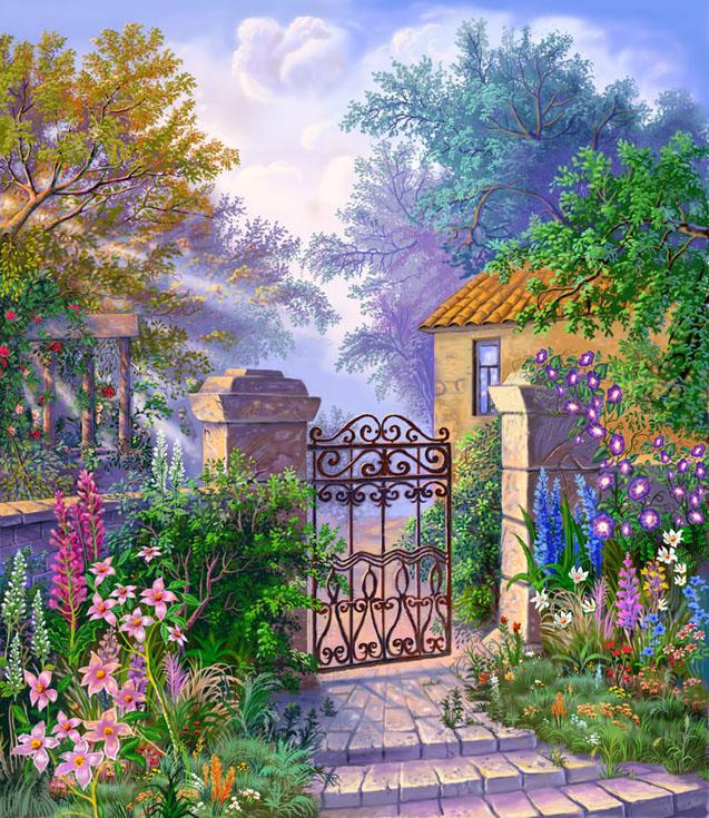 Рисованные пейзажи с цветами