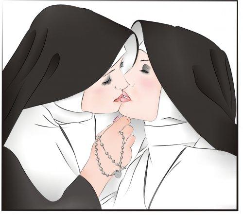 монашка гладить піську