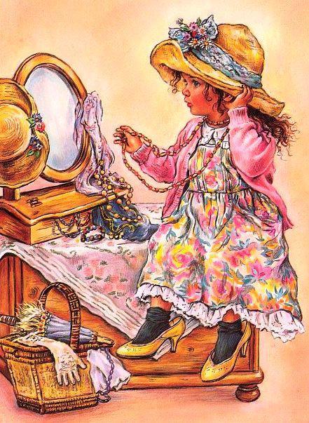 Девочка модница открытка