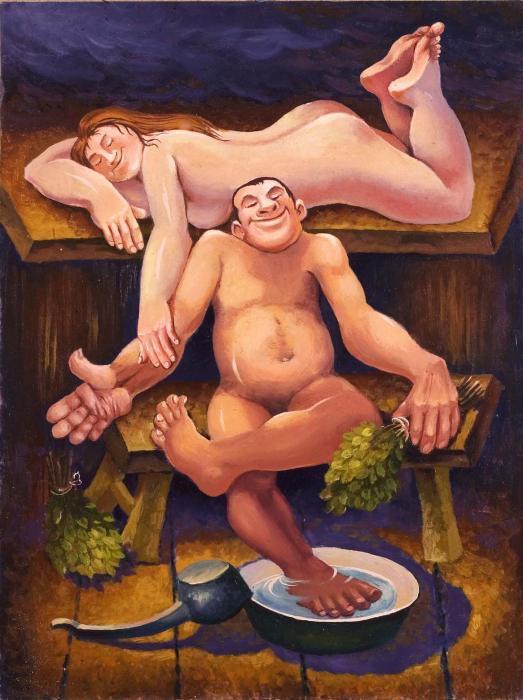 голые женщины картина в бане-мм2
