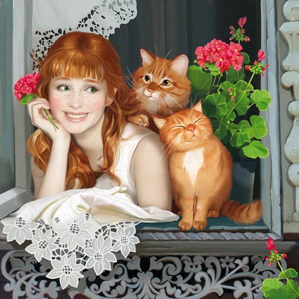 Фото рыжая девушка с рыжим котом фото