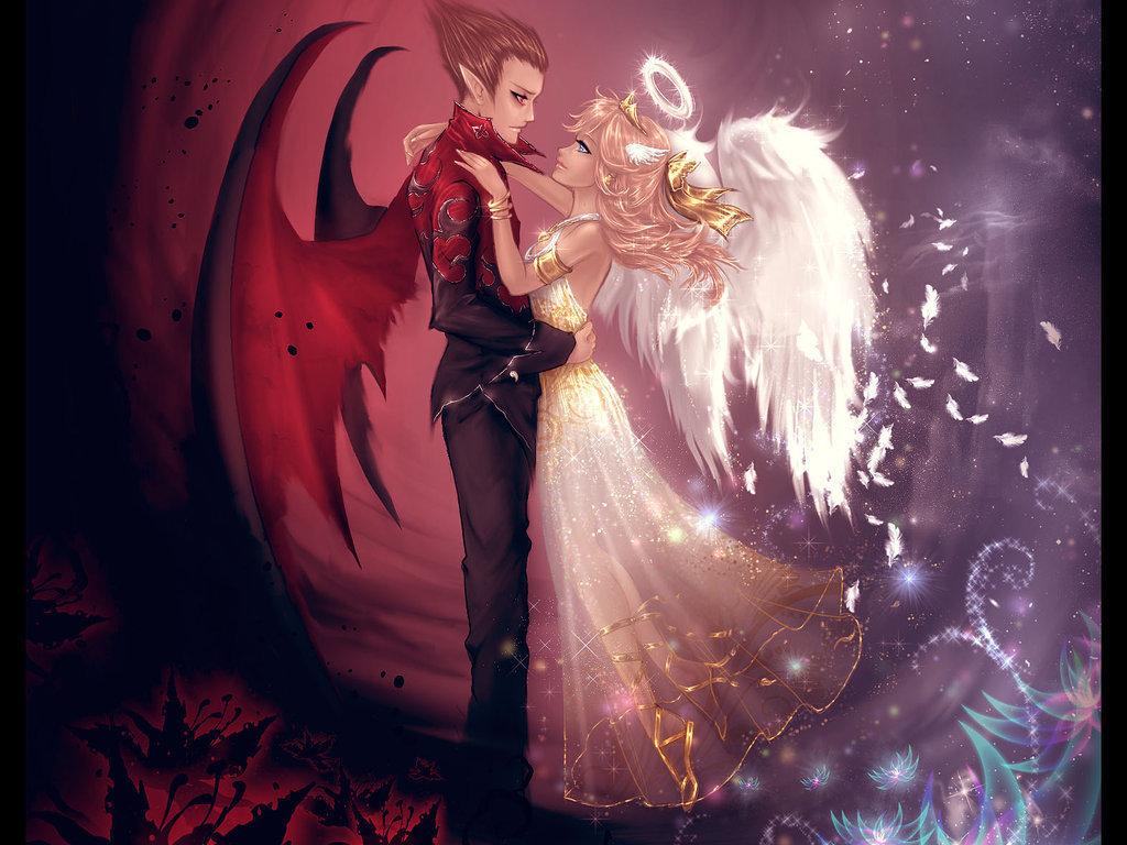 "Схема вышивки  ""Ангел и демон "": схема."