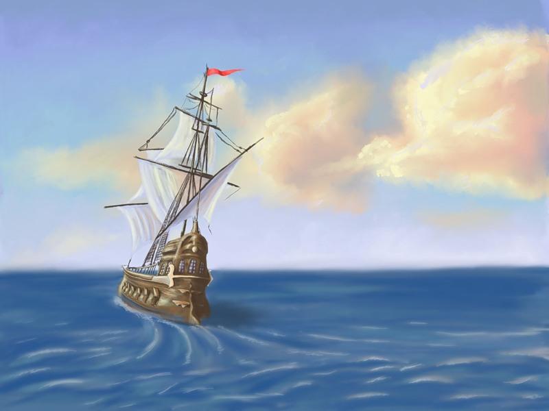 Парусник в море картинки для детской