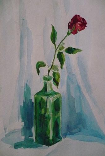 Роза в коньячной бутылке