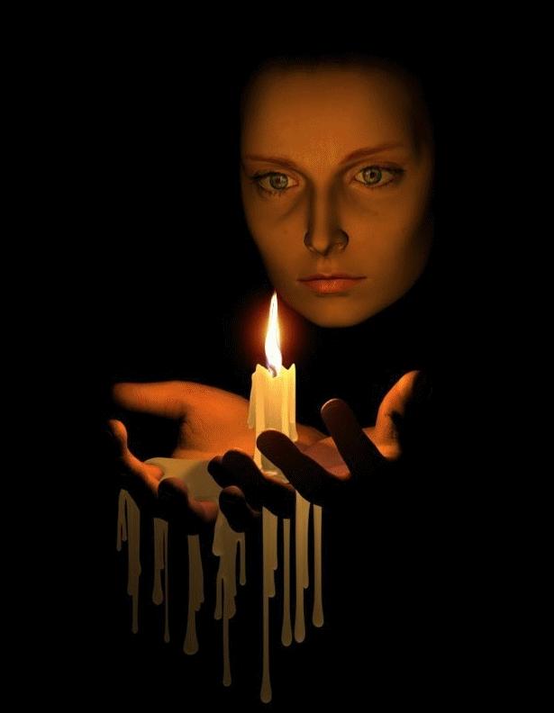 Зажженная свеча открытка