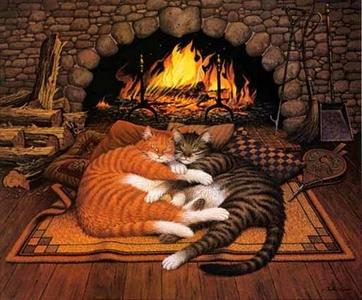 Resultado de imagem para кот и камин