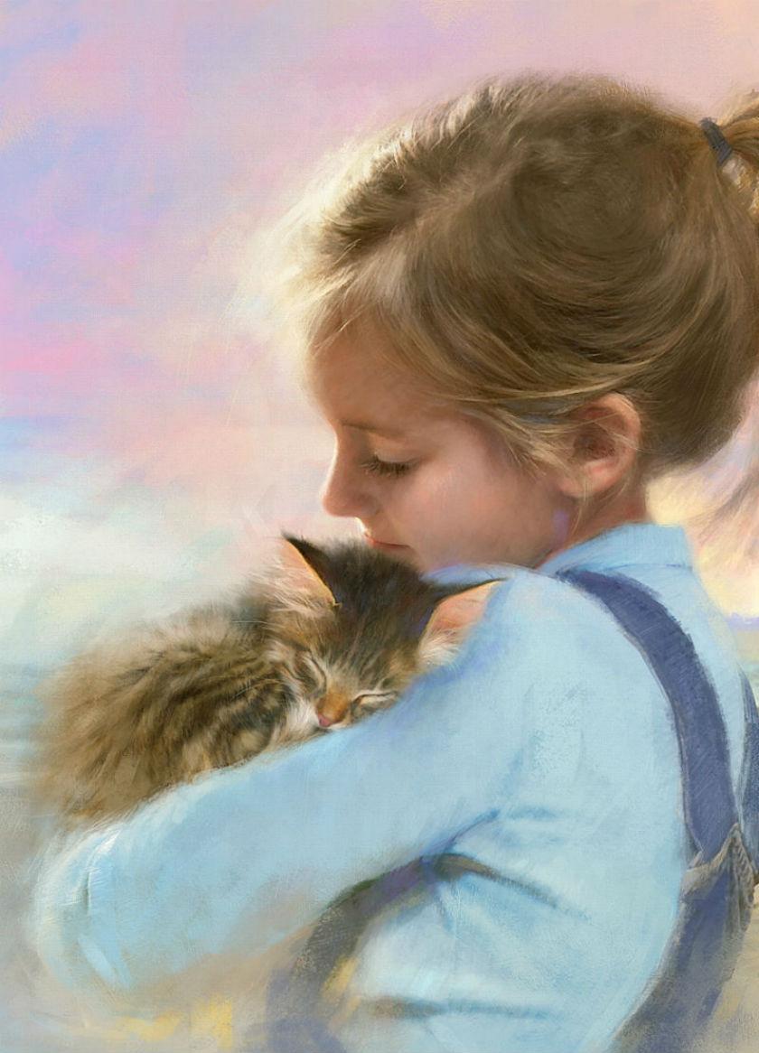 Девочка и котёнок - зарисовка из жизни