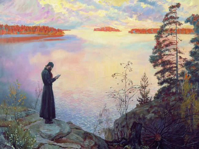 Αποτέλεσμα εικόνας για monk near lake