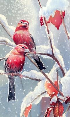 "Схема вышивки  ""зима и птицы "" ."