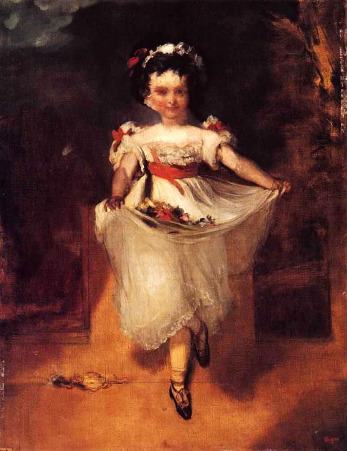 """Купить репродукцию категории Художник, Degas, Edgar (1834-1917).  Название картины:  """"Little Girl Carrying Flowers in..."""