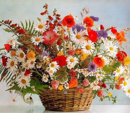 громадный букет полевых цветов фото