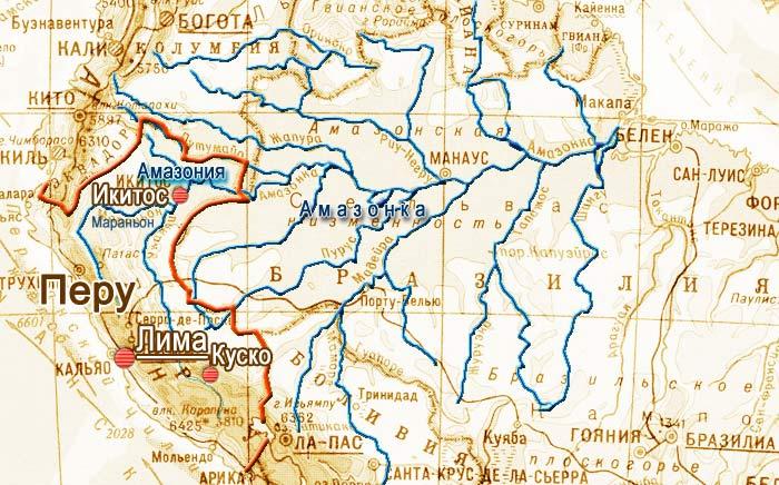 Где на карте находится амазонка