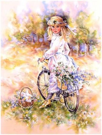 """Схема вышивки  """"Девочка на велосипеде """". palena29.  Используйте пару ножниц - одни для разрезания нитей мулине..."""