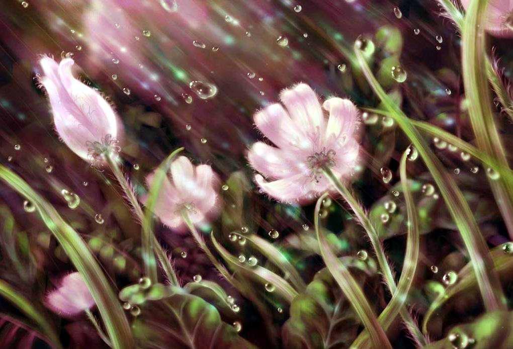 """Оригинал - Схема вышивки  """"цветы под дождём """" - Схемы вышивки - Егомечта - Авторы - Портал  """"Вышивка крестом """" ."""