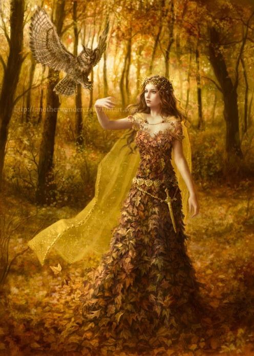 картинка осень женщина