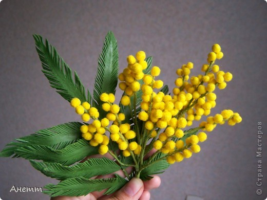 Цветок мимозы своими руками