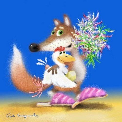 Розы, открытки с лисой с 8 марта