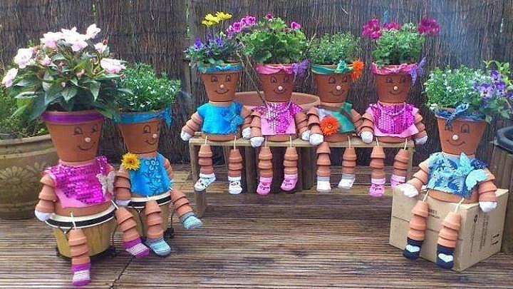 Фигурки из горшков для сада своими руками