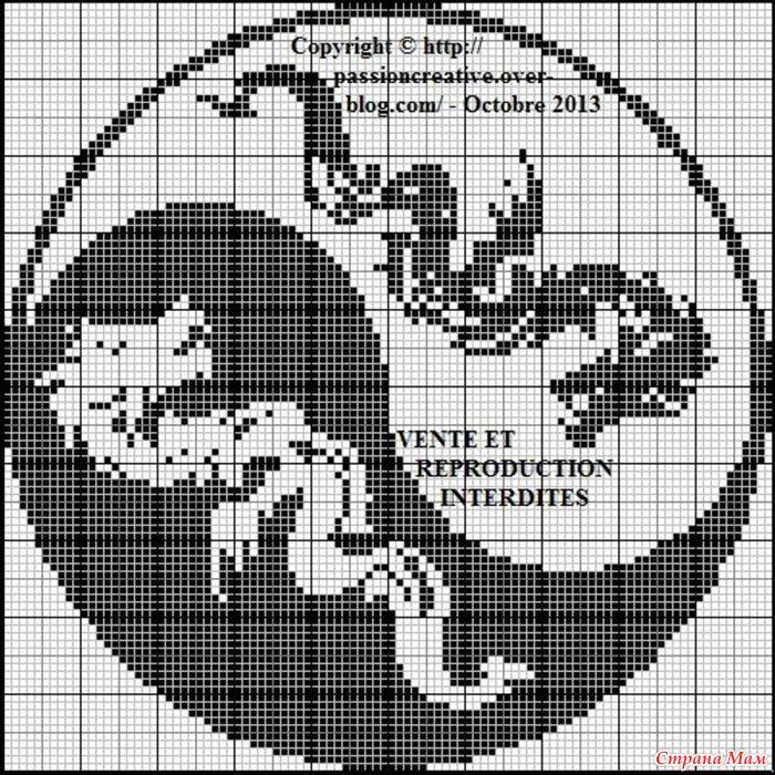 Схема для вышивания крестиком двухцветный