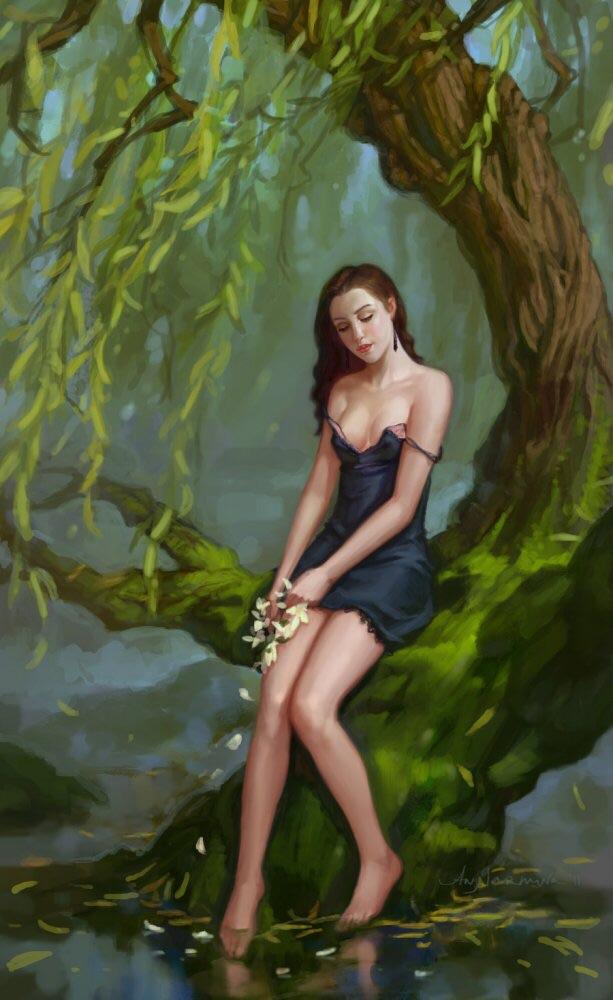 Картинка ивы с девушкой
