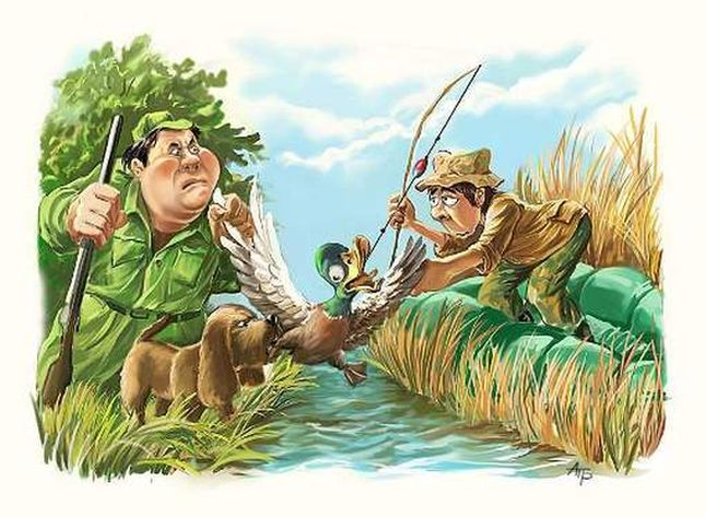 смешные рыбаки и охотники