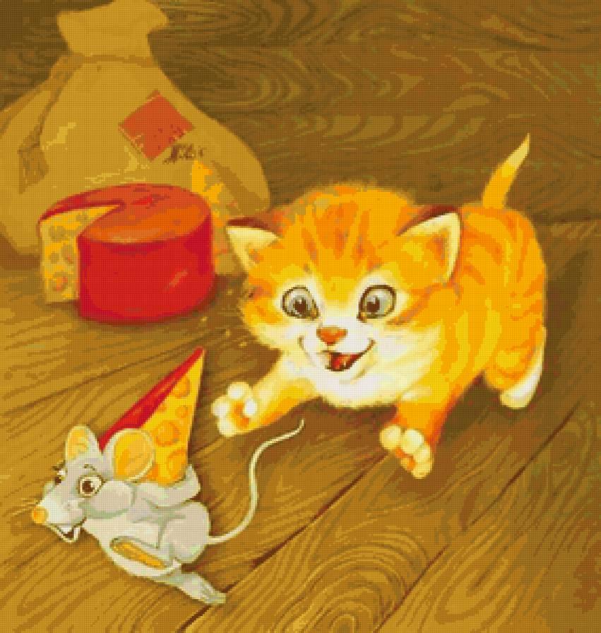 серия картинок кошка ловит мышку