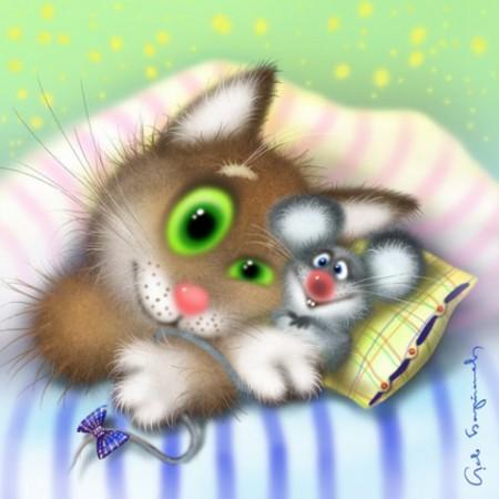 Кот и мышка-картинки