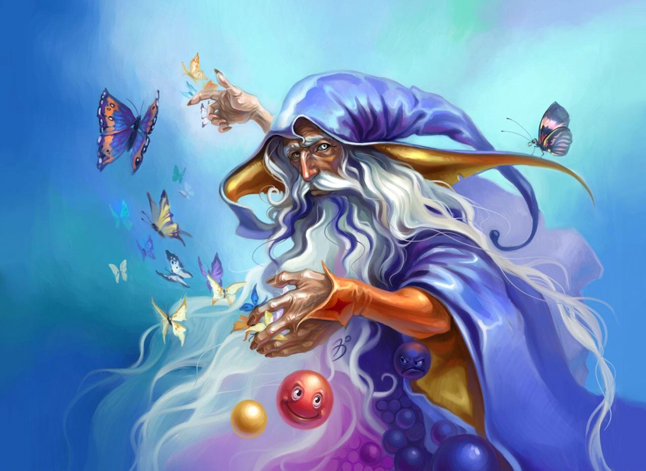 Волшебники в картинках, открытки