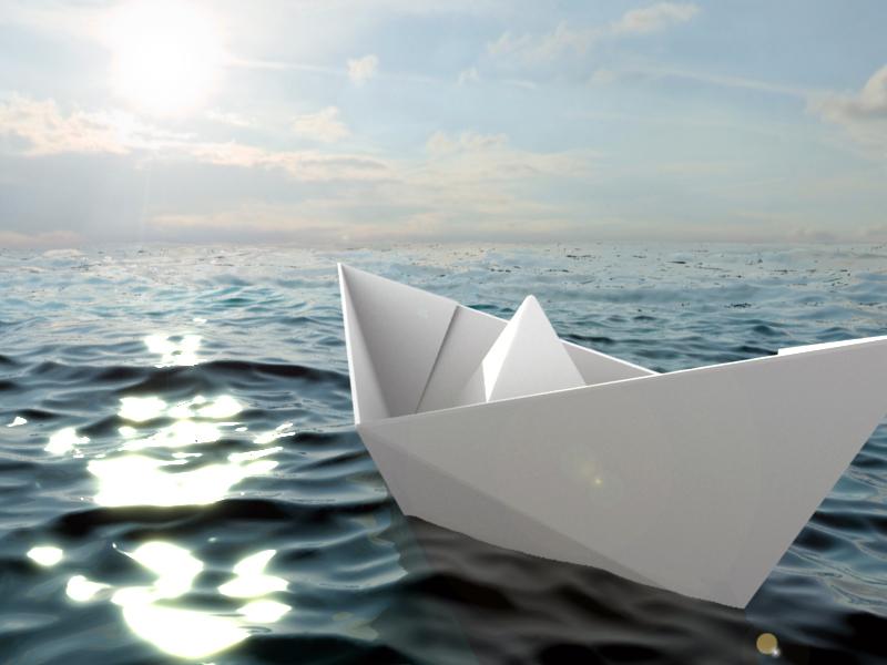 Открыток, плывет бумажный кораблик гифка