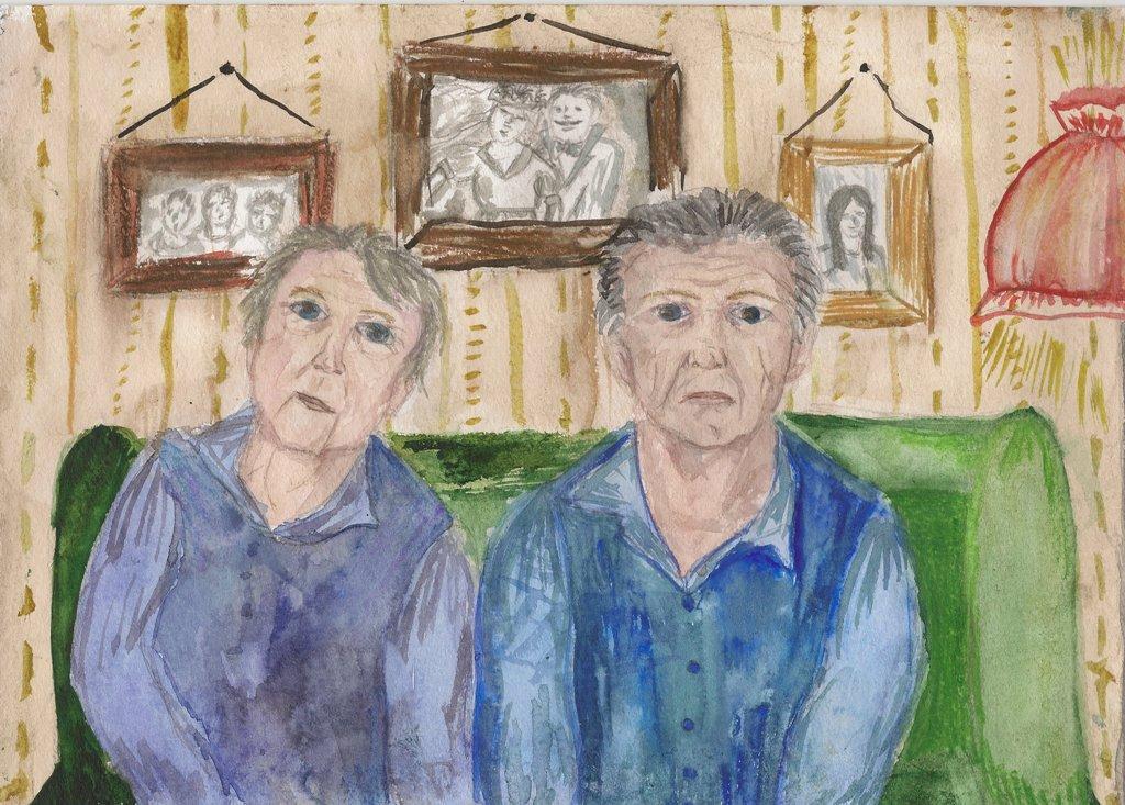 Пожилые люди рисунок детей, жизнь продолжается вот