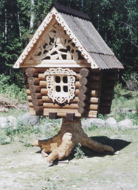Поделки из дерева домик бабы яги
