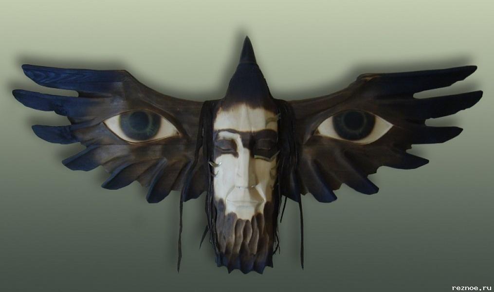 Маска ворона из бумаги с фото