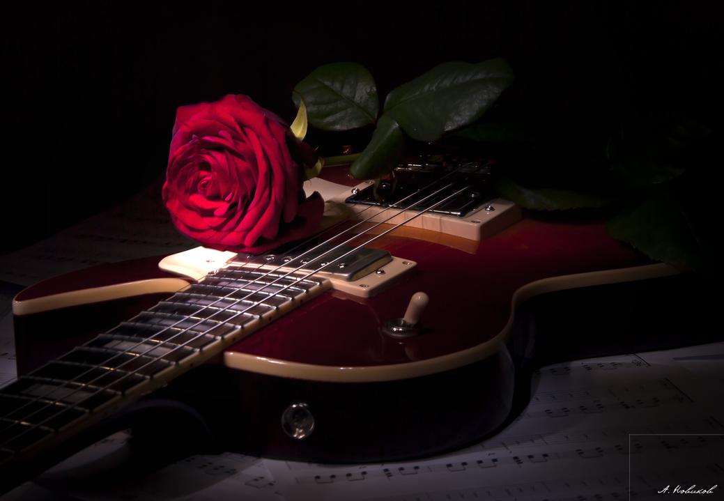 Открытки с цветами и гитарой