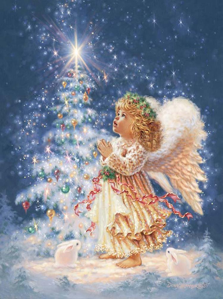 Ангелы с новым годом открытки, анимация воющий