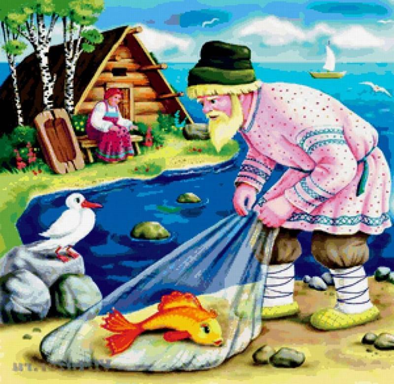 Золотая рыбка картинки из сказки о рыбаке и рыбке