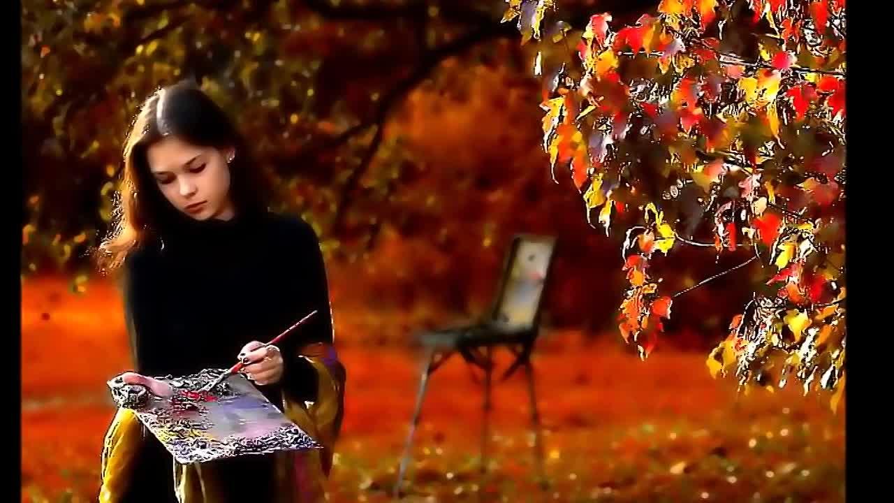 Девушка рисует на природе фото